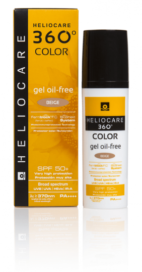 Heliocare 360º Color Gel Oil Free SPF 50+ Bege Embalagem Airless 50ml