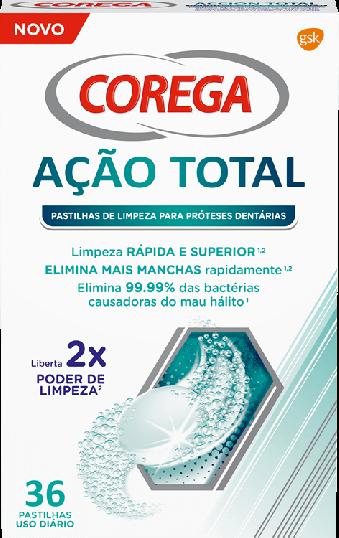Corega Pastilhas de Limpeza Ação Total 36 pastilhas