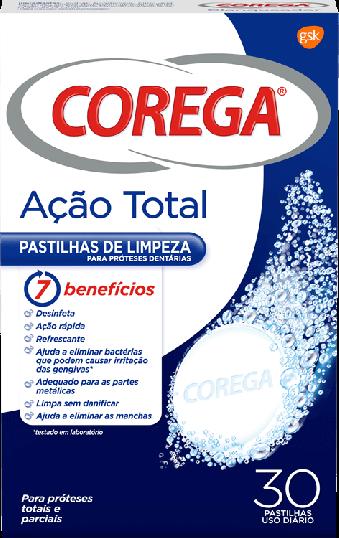 Corega Pastilhas de Limpeza Ação Total 30 pastilhas